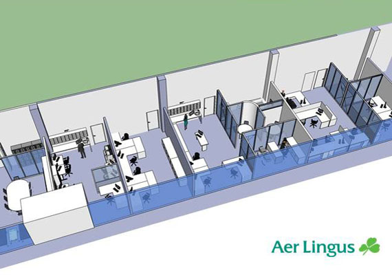 The new office fit out extends the Aer Lingus office fit out company branding to Cork Airport. Improving the overall working environment regarding ergonomics, natural light and ventilation.